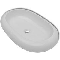 Keramik Waschtisch Waschbecken Oval Weiß 63 x 42 cm