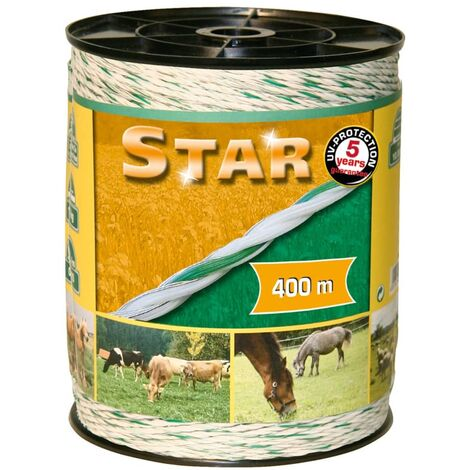 Kerbl Electric Fence Rope Star 400 m White and Green 44528