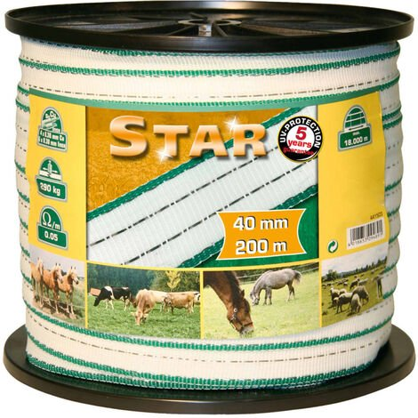 Kerbl Electric Fence Tape Star PE 200 m 40 mm 441503 - White