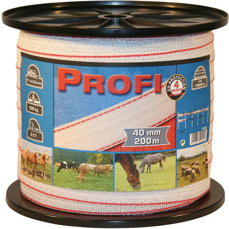 Kerbl Fencing Tape Profi 200 m 40 mm White-red TriC 59502