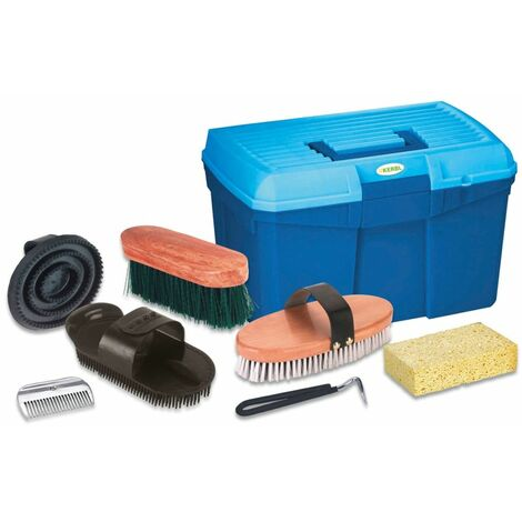 Kerbl Horse Grooming Box with 7 Tools Blue 321775