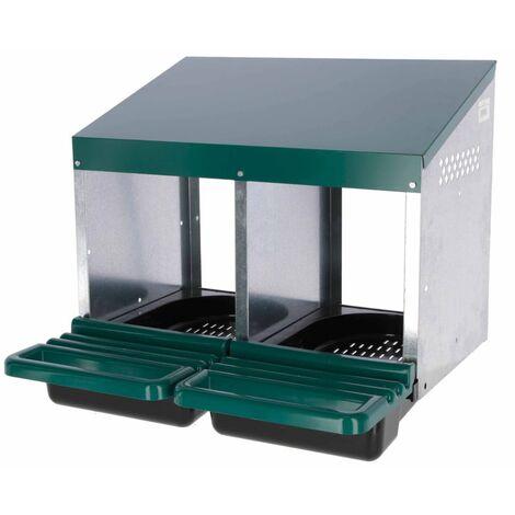 Kerbl Ponedero doble para gallinas de plástico verde 53x52x43,5 cm