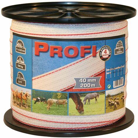 Kerbl Ruban de clôture Profi 200 m 40 mm blanc-rouge TriC 59502