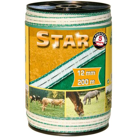 Kerbl Ruban pour clôture électrique Star PE 200 m 12 mm 441501