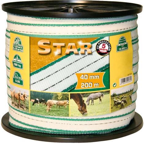 Kerbl Ruban pour clôture électrique Star PE 200 m 40 mm 441503