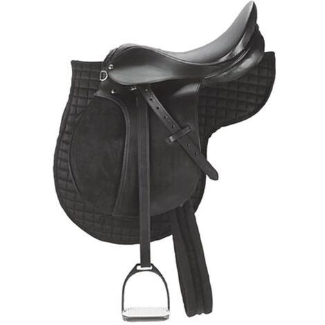 Kerbl Silla de montar poni de cuero negro 32196