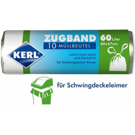KERL 4003450030494 Lot de 10 sacs poubelle avec cordon de serrage 60 x 67 cm