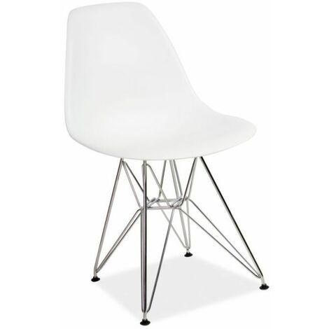 KERRY   Chaise style scandinave salon/bureau/salle à manger   83x46x42 cm   Assise et dossier en polypropylène   Cadre métal - Blanc