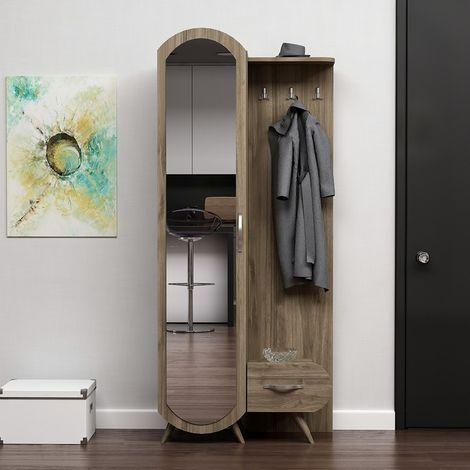Kerry Hall Unit - Closet, Coat Rack - with Mirror, Doors, Shelves - Walnut, made in Wood, 80 x 35 x 180 cm