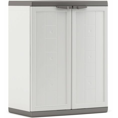 KETER   Armoire basse JOLLY , Blanc-Gris