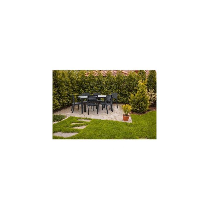 KETER Ensemble de jardin Harmony en resine imitation bois 6 places -  Graphite