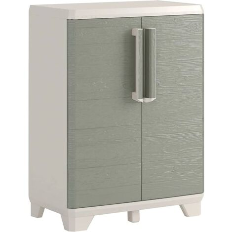Keter Garden Low Storage Cabinet Wood Grain Cream and Taupe 97 cm