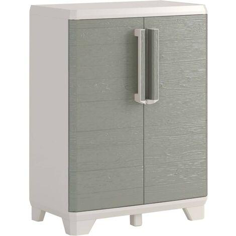 "main image of ""Keter Garden Storage Cabinet Wood Grain Cream and Taupe Home Living Room Bedroom Lockable Storage Organiser Shelves Highboard 182/97 cm"""