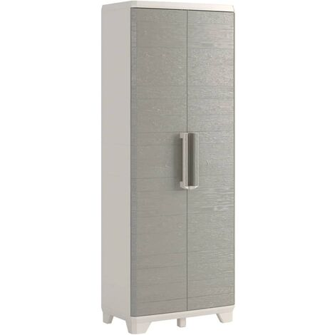 Keter Garden Storage Cabinet Wood Grain Cream and Taupe Home Living Room Bedroom Lockable Storage Organiser Shelves Highboard 182/97 cm