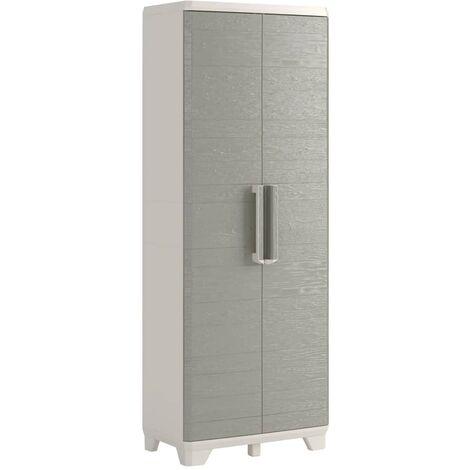 Keter Garden Storage Cabinet Wood Grain Cream and Taupe Home Living Room Bedroom Lockable Storage Organiser Shelves Highboard 182/97 cm
