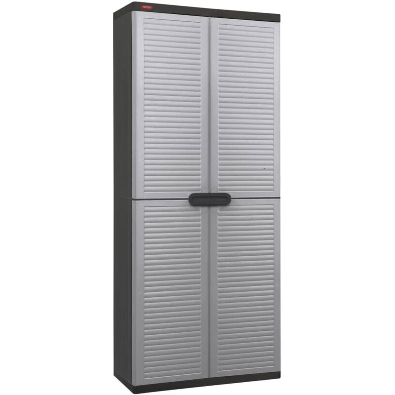 Image of Garden Utility Cabinet Space Winner Louvre Light Grey and Black - Grey - Keter