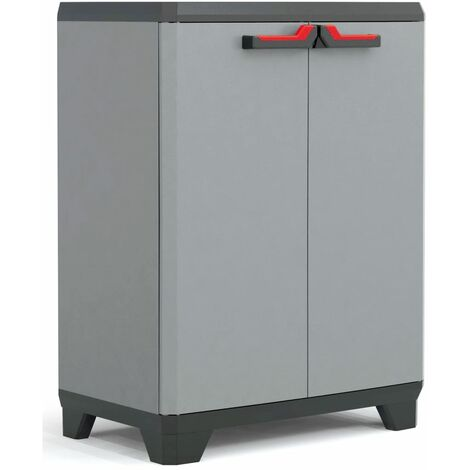 Keter Low Storage Cabinet Stilo Grey and Black 90 cm - Black
