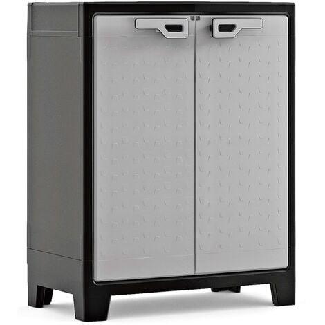Keter Low Storage Cabinet Titan Black and Grey 100 cm - Black