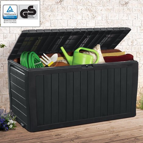 Keter Marvel Garden Storage Box 270 Litres Wheels Sit On Bench Cushion Outdoor Plastic Anthracite