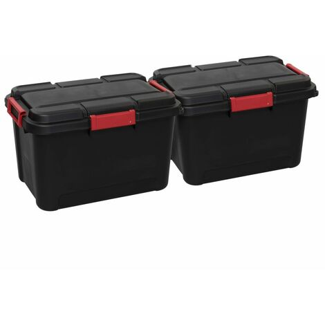 Keter Outback Storage Box Set 2 pcs with Lid 60L Black