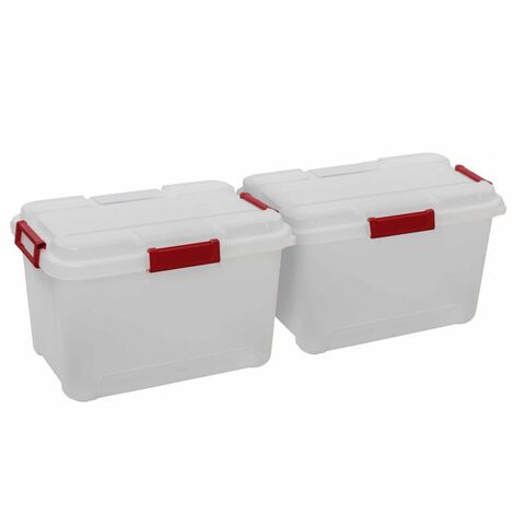Keter Outback Storage Box Set 2 pcs with Lid 60L Transparant