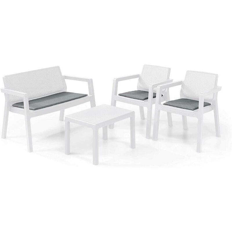 Keter Set 2 Poltrone + Divano + Tavolino aperto EMILY LOUNGE Bianco