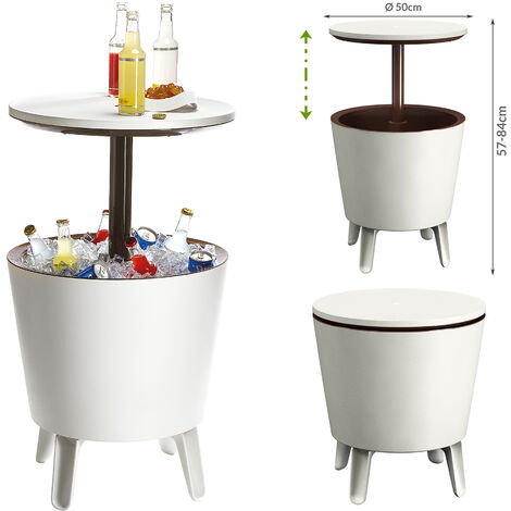 Keter Side Table Drink Cooler Cool Bar Cocktail Table Party Cold Table High Garden Balcony Table 50x57-85cm 30 L braun - weiß (de)