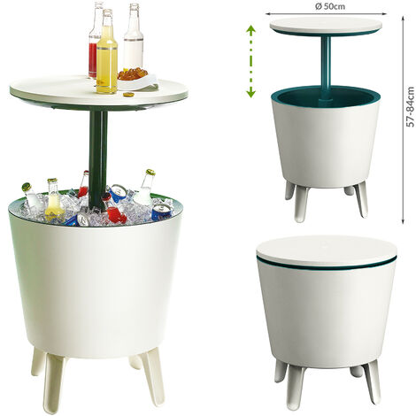"""main image of """"Keter Side Table Drink Cooler Cool Bar Cocktail Table Party Cold Table High Garden Balcony Table 50x57-85cm 30 L braun - weiß (de)"""""""