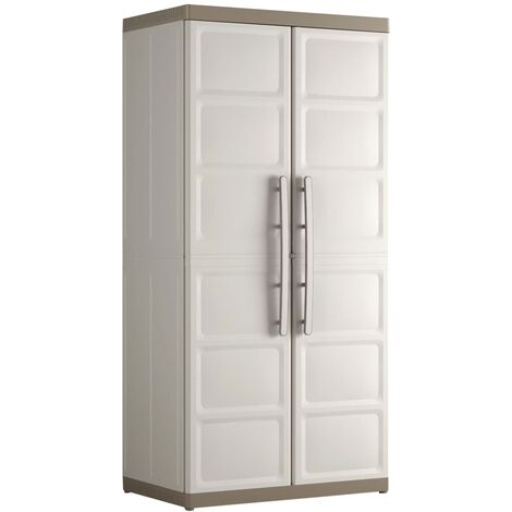 Keter Storage Cabinet with Shelves Excellence Beige and Taupe Living Room Bedroom Lockable Storage Organiser Shelves Highboard Multi Sizes