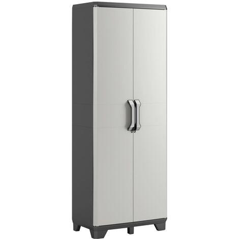 "main image of ""Keter Storage Cabinet with shelves Gear Black and Grey Home Living Room Bedroom Lockable Storage Organiser Shelves Highboard 182/97 cm"""