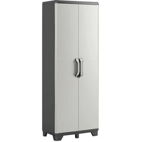 Keter Storage Cabinet with shelves Gear Black and Grey Home Living Room Bedroom Lockable Storage Organiser Shelves Highboard 182/97 cm