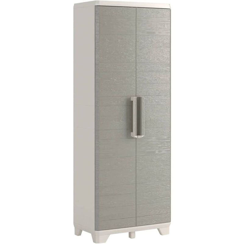 Image of Garden Storage Cabinet Wood Grain Cream and Taupe 182 cm - Grey - Keter