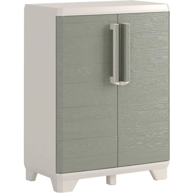 Image of Garden Low Storage Cabinet Wood Grain Cream and Taupe 97 cm - Grey - Keter