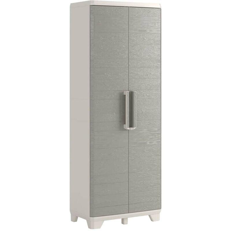 Image of Garden Multipurpose Storage Cabinet Wood Grain Cream Taupe 182cm - Grey - Keter