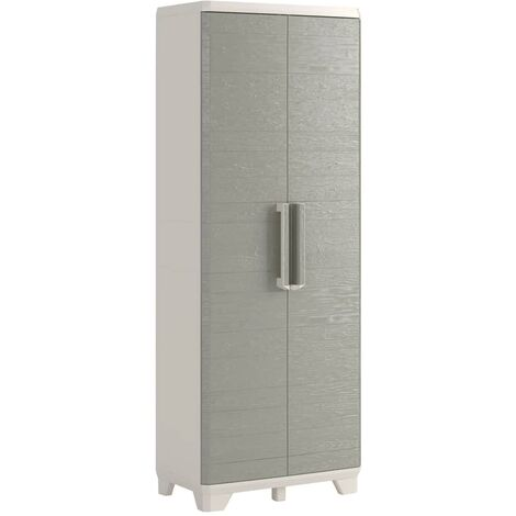 "Keter Utility Cabinet ""Wood Grain"" Cream and Taupe 68x39x182 cm"
