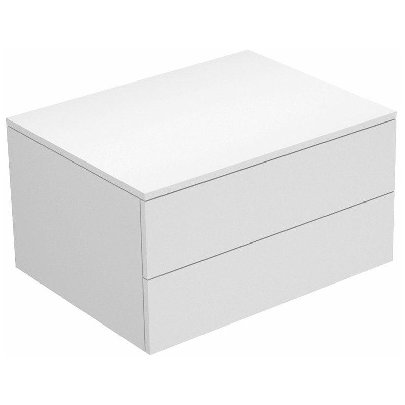 Edition 400 Sideboard 31742, 2 Auszüge, 700 x 382 x 535 mm, Korpus/Front: Weiß Hochglanz Lack / Anthrazit Glas glanz - 31742800000 - Keuco