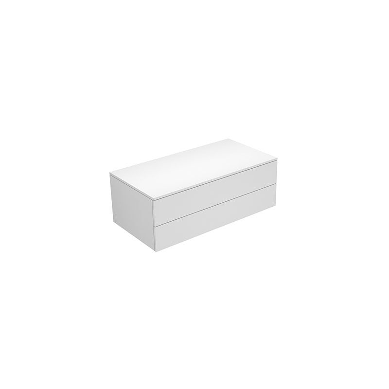 Keuco Edition 400 Sideboard 31752, 2 Auszüge, 1050 x 382 x 450 mm, Korpus/Front: Weiß Hochglanz Lack / Weiß Glas glanz - 31752400001