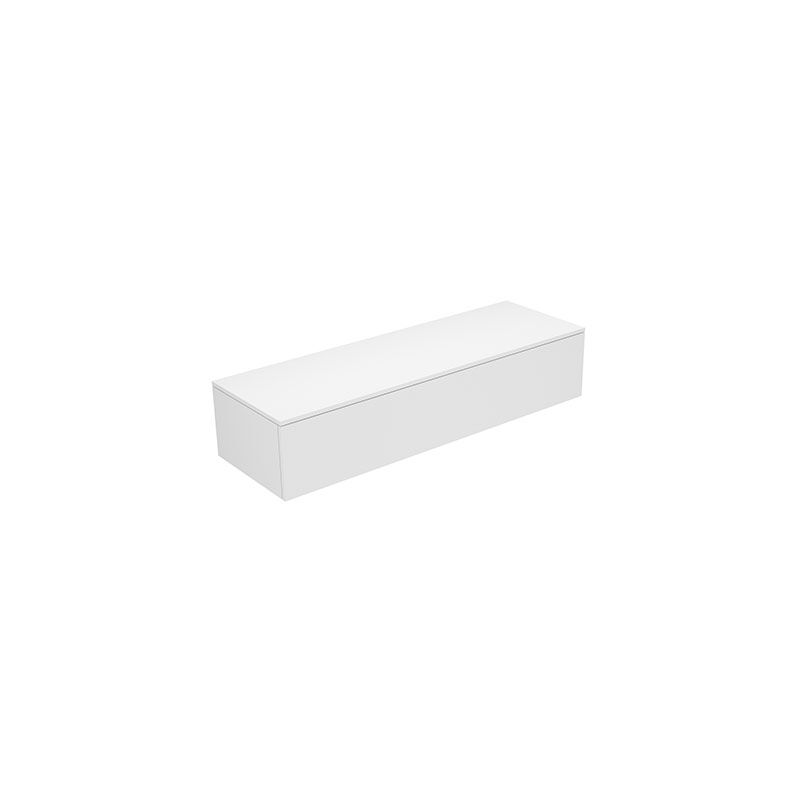 Edition 400 Sideboard 31761, mit 1 Auszug, 1400 x 289 x 535 mm, Korpus/Front: Weiß Hochglanz Lack / Titan Glas glanz - 31761960000 - Keuco