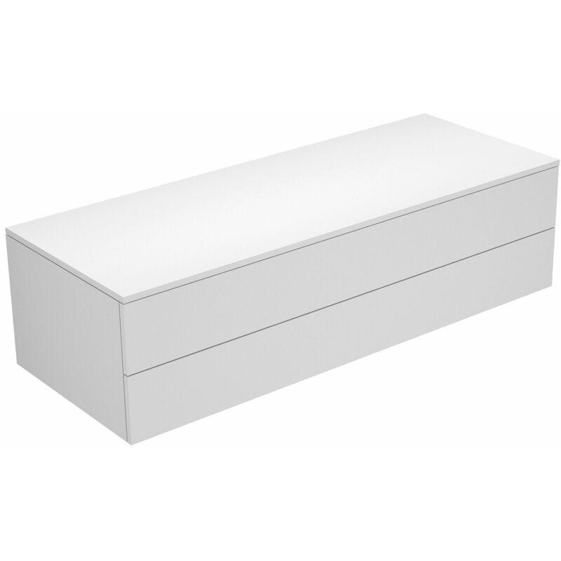 Keuco Edition 400 Sideboard 31762, 2 Auszüge, 1400 x 382 x 535 mm, Korpus/Front: Weiß Struckturlack / Cashmere Glas matt - 31762750000
