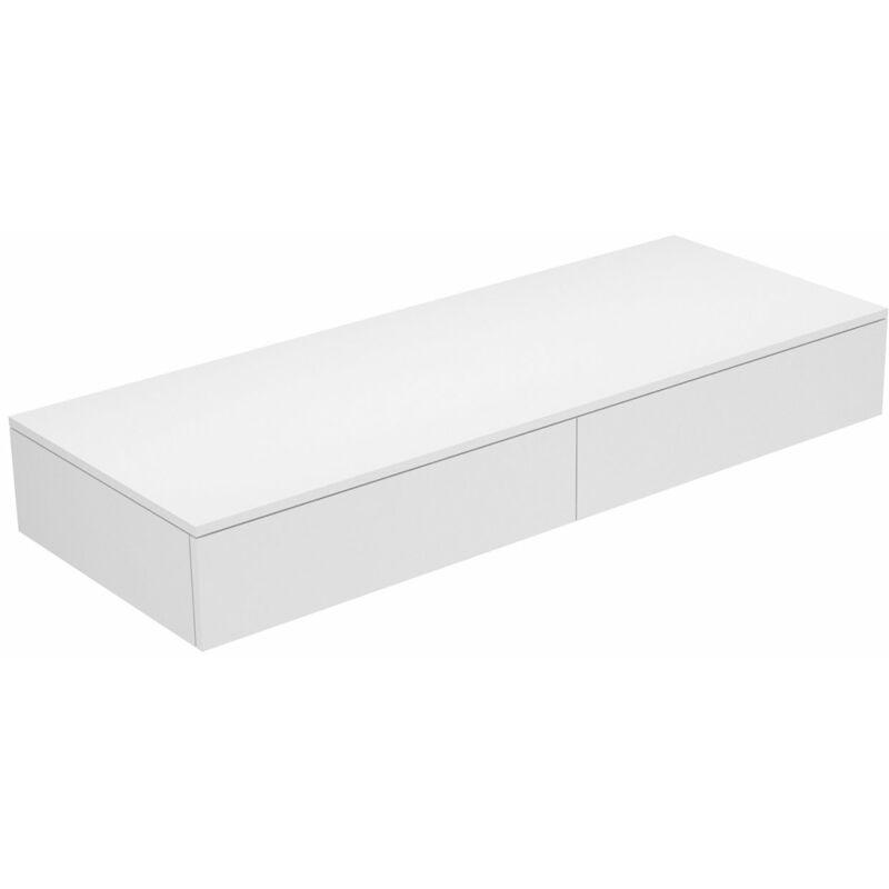 Edition 400 Sideboard 31764, 2 Auszüge, 1400 x 199 x 535 mm, Korpus/Front: Weiß Struckturlack / Weiß Glas matt - 31764270000 - Keuco