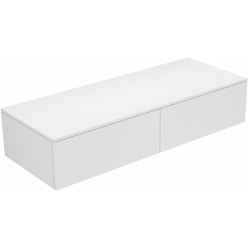 Edition 400 Sideboard 31765, 2 Auszüge, 1400 x 289 x 535 mm, Korpus/Front: Weiß Struckturlack / Cashmere Glas matt - 31765750000 - Keuco