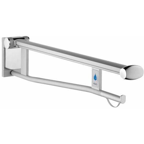 Keuco Plan Care poignée de support pliante pliante WC 34903, version gauche avec déclencheur radio, 700mm, Coloris: Aluminium argent-anodisé/blanc - 34903172751