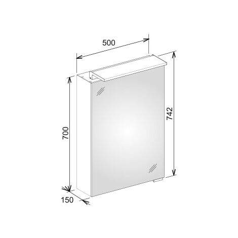 Keuco Royal L1 mirror cabinet 13601, 1 revolving door, left-hinged, 500mm, with one inside drawer - 13601171202