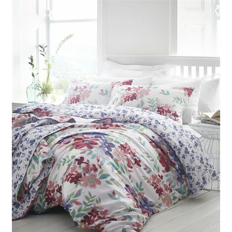 Kew Fuchsia Double Duvet Cover Set 100% Cotton 200 Thread Count Reversible Bedding