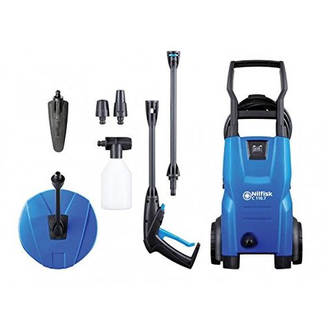 """main image of """"Kew Nilfisk Alto Pressure Washer with Patio Cleaner & Brush 110 bar 240V"""""""