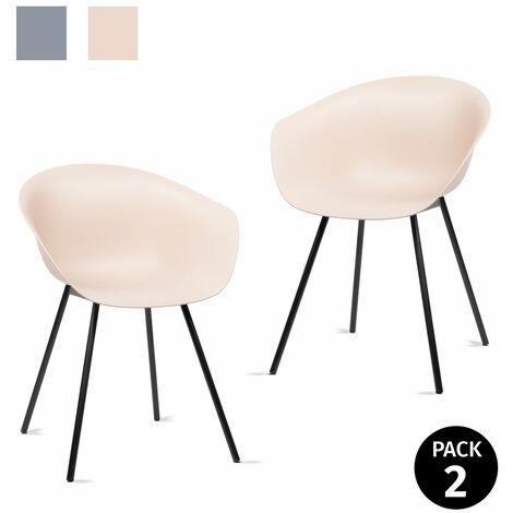 KEWAYES - Pack 2 sillas MERAKI salón comedor 58x53x75,5cm