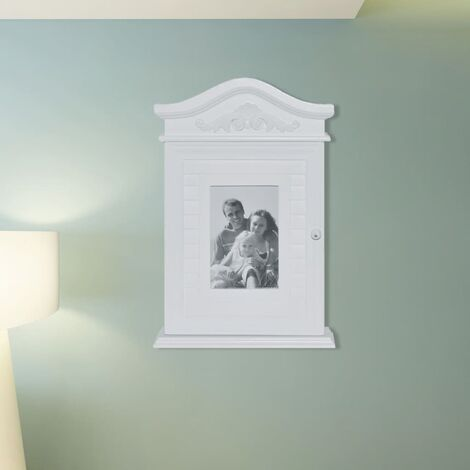 Key Cabinet with Photo Frame White - White