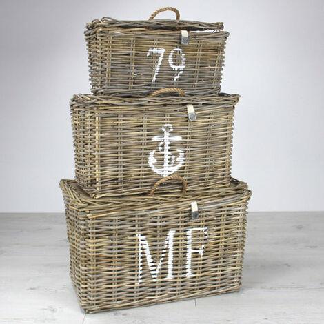Key Largo Rattan Set Of 3 Storage Baskets