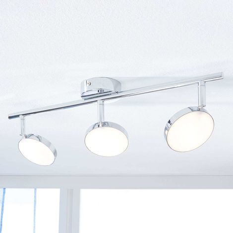 Keylan LED ceiling spotlight, three-bulb, linear