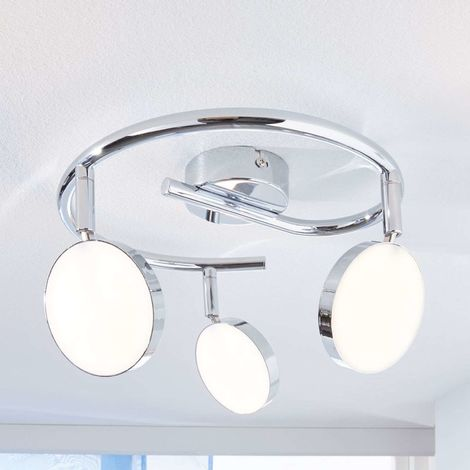 Keylan LED ceiling spotlight, three-bulb, round